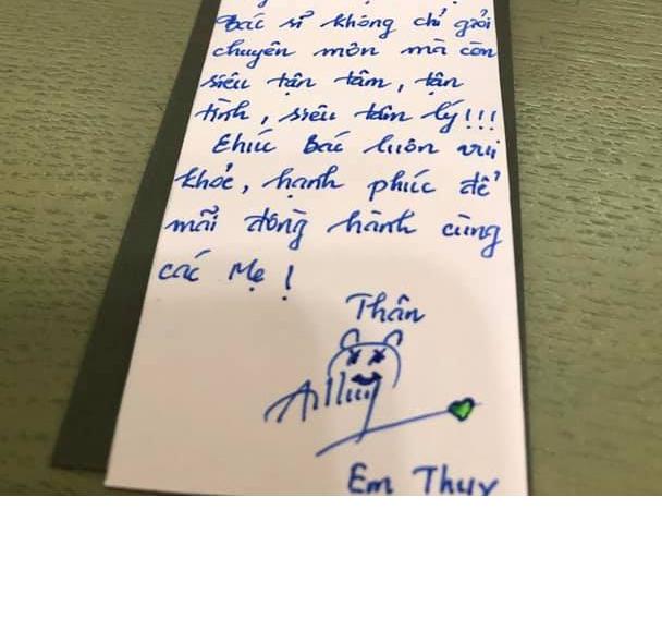Thư cảm ơn bác sĩ Trần Thị Bạch Vân
